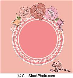 tekst, ułożyć, ułożony, okrągły, róże