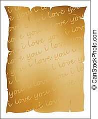 tekst, u, liefde, perkament