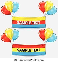 tekst, vector, ballons, kleurrijke, banner.
