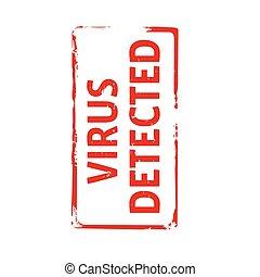 tekst, vector, illustration., postzegel, virus, detected., rood