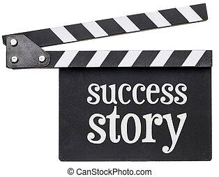 tekst, verhaal, clapboard, succes