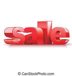 tekst, verkoop, rood, 3d