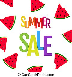 tekst, verkoopaffiche, zomer, watermeloen