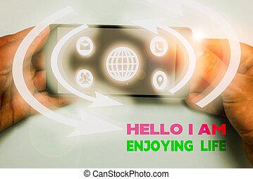 tekst, vrolijke , life., hallo, woord, things., het genieten van, ontspannen, levensstijl, genieten, schrijvende , eenvoudig, concept, zakelijk