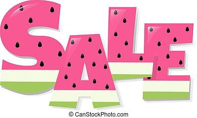 tekst, watermeloen, verkoop