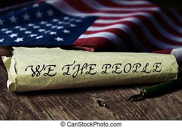 tekst, wij, vlag, usa, mensen