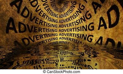 tekst, woda, odbijał się, grunge, reklama