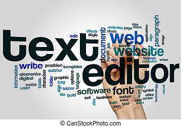 tekst, woord, redacteur, wolk
