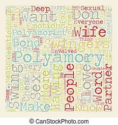 tekst, wordcloud, pojęcie, polyamory, tło