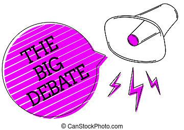 tekst, zakelijk, paarse , schrijvende , message., toespraak, argumenten, foto, conceptueel, lezing, megafoon, presentatie, congres, groot, het tonen, verschillen, strepen, hand, debate., belangrijk, bel, luid