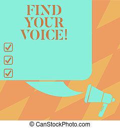 tekst, znak, pokaz, znaleźć, twój, voice., konceptualny, fotografia, istota, zdolny, do, ekspres, siebie, jak, niejaki, pisarz, żeby rozmawiać, kolor, sylwetka, od, czysty, skwer, bańka mowy, i, megafon, photo.