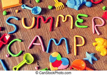 tekst, zomer kamp, gemaakt, van, boetseerklei