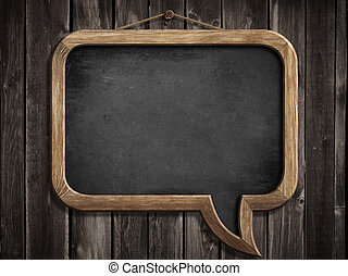 tekstballonetje, bord, of, chalkboard, hangend, houten muur