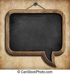 tekstballonetje, bord, of, chalkboard, hangend, muur