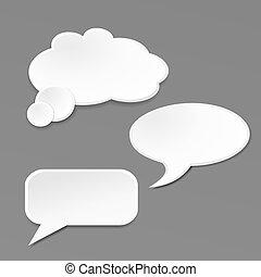 tekstballonetje, grijze , achtergrond
