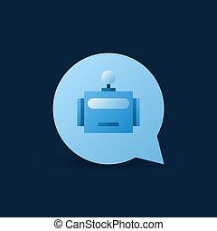 tekstballonetje, met, robot, hoofd, binnen, vector, blauwe , pictogram