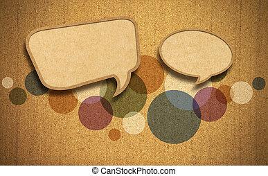tekstballonetje, op, corkboard, achtergrond