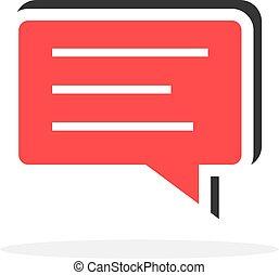 tekstballonetje, pictogram, boodschap, eenvoudig