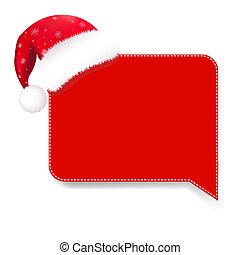 tekstballonetje, rood, kerstmuts