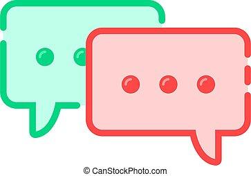 tekstballonetje, spotprent, pictogram, dubbel