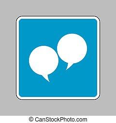tekstballonetje, teken., witte , pictogram, op, blauw teken, als, achtergrond.