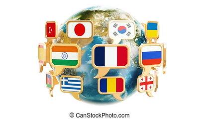 tekstballonetje, vlaggen, met, ronddraaien, aardebol, 3d, vertolking