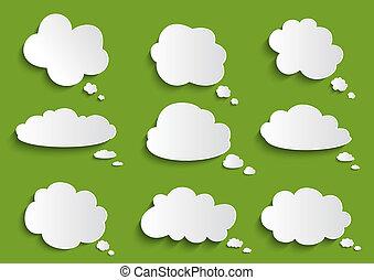 tekstballonetje, wolk, verzameling