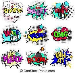 tekster, comic bog, tale, bobler