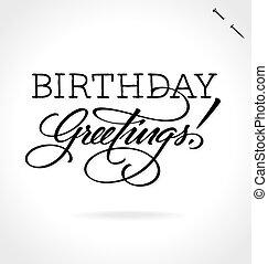 tekstning, fødselsdag, hilsenerne, hånd
