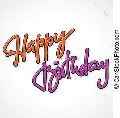 tekstning, fødselsdag, (vector), hånd