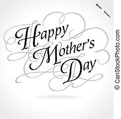 tekstning, glade, hånd, dag, mødre