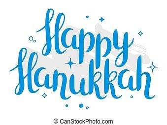 tekstning, hanukkah, ferie, glade, card, fest