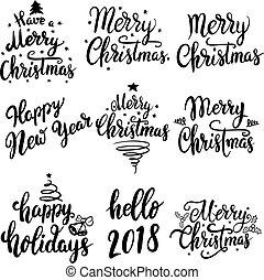 tekstning, sæt, card., plakat, isoleret, illustration, hils, baggrund., emblems, vektor, konstruktion, år, 2018., nye, hvid christmas, elementer