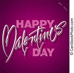 tekstning, valentines, (vector), hånd