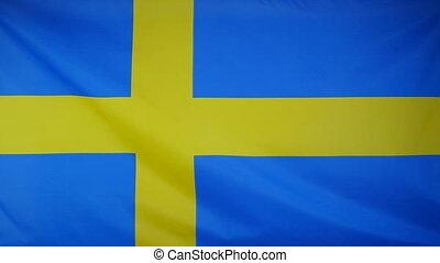 tekstylny, bandera, szwecja, slowmotion
