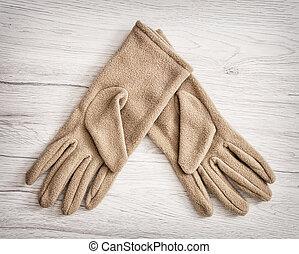 tekstylny, fason, rękawiczki, piękno, damski