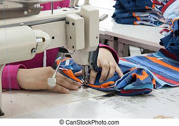 tekstylny, i, część garderoby, fabryka