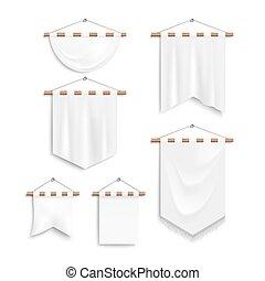 tekstylny, realistyczny, biały, komplet, chorągwie