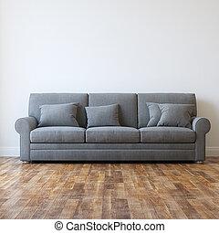 tekstylny, sofa, szary, klasyk