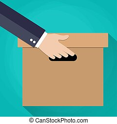 tektura, ręka, box., transport