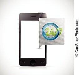 teléfono, 24, 7, servicio, mensaje, ilustración, diseño