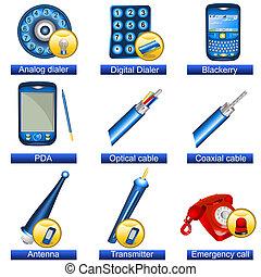 teléfono, 5, iconos