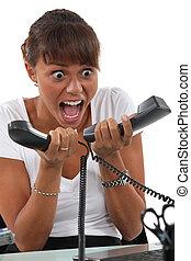 teléfono, abrumado, llamadas, secretario