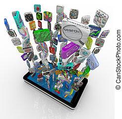 teléfono, app, descargar, elegante, iconos