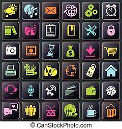 teléfono, app, elegante, iconos