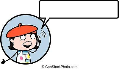 teléfono, artista, caricatura