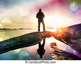 teléfono, asombroso, excursionista, ocean., paisaje, liso, ...