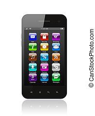 teléfono, blanco, elegante, plano de fondo, iconos