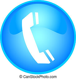 teléfono, botón, azul