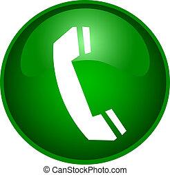 teléfono, botón, ilustración
